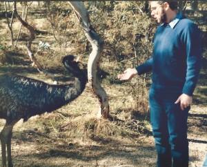 Peter feeding emu